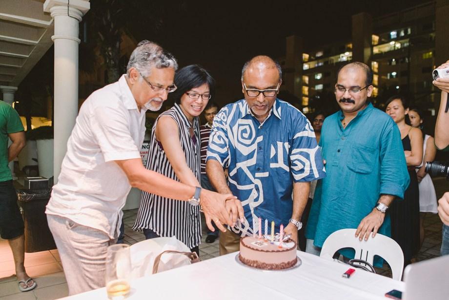 Celebrating five years of AJF: P. N. Balji, Joanne Ng and Cherian George.