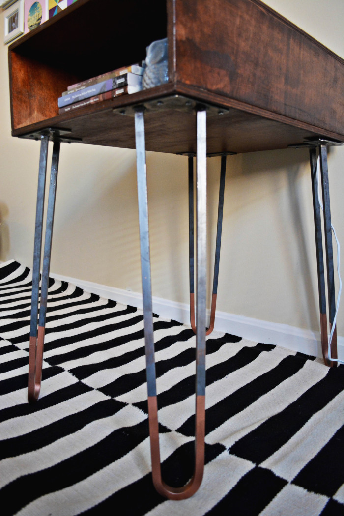 DIY Copper Dipped Hairpin Leg Side Table A Joyful Riot