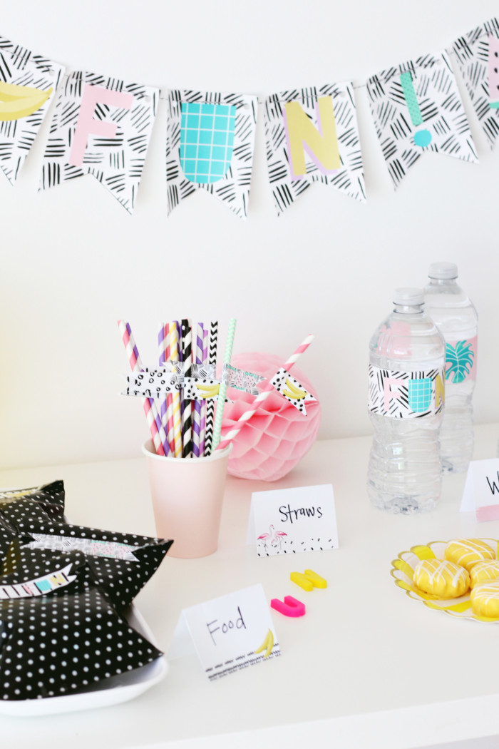 Pop art graphic summer fun printable party pack FREE from ajoyfulriot.com