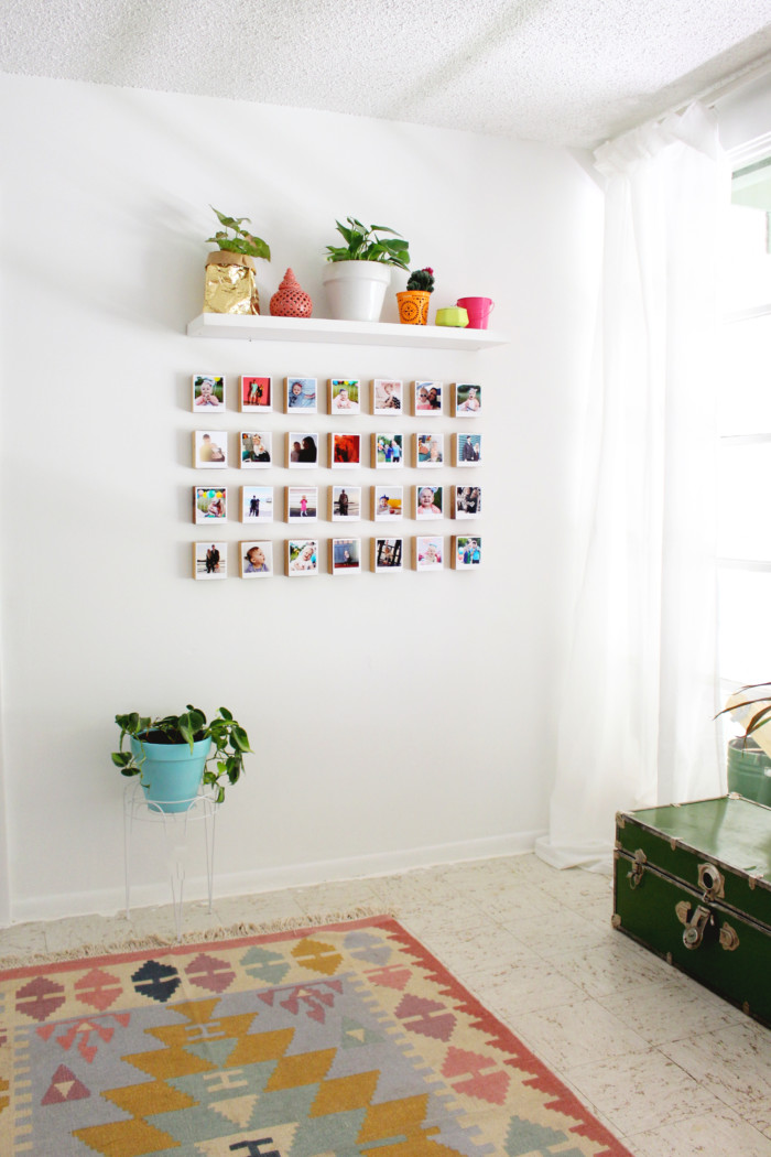 Turn your instagrams into polaroid-like prints with this free template and then create a unique gallery wall of your favorite photos with this block DIY via ajoyfulriot.com