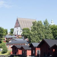 Porvoo Cathedral And Red Houses