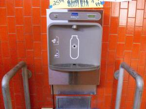 The newly-installed water bottle fill station is up and running. Photo by Alanna Greene