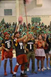The AHS football team was a focal point of the Homecoming assembly. Photo courtesy of the Acorn yearbook.