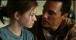 Cooper tries to console his daughter in 'Interstellar.' Photo courtesy of interstellarmovie.com