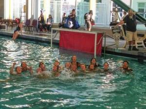 The team in action. Courtesy of the water polo team