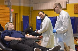 Red Cross workers helped AHS students donate blood in January. Photo by Alanna Greene
