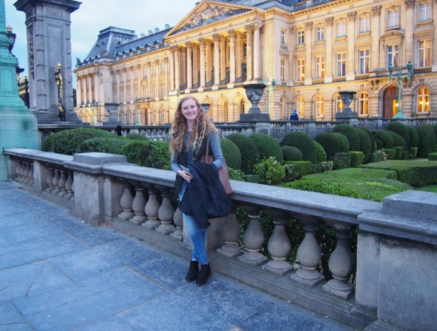 Aleeza Zinn in front of the Royal Palace in Brussels, Belgium Photos courtesy of Aleeza Zinn