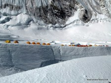 Camp1 near a crevasse in 2008