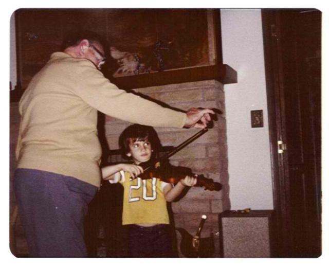 Primrose giving my son Sean a violin lesson in 1979
