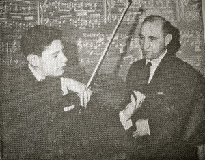 Alan and his Dad preparing for Alan's first concerto appearance with the LA Phil in 1962