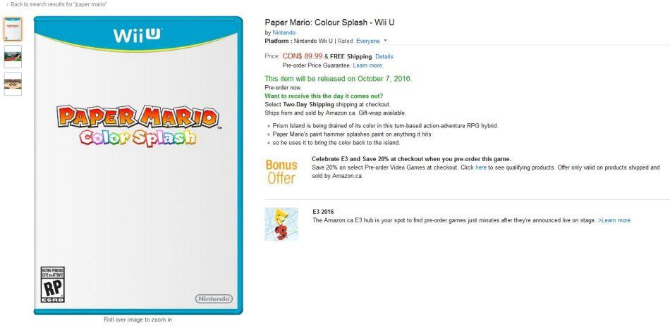 Paper Mario: Colour Splash - Wii U release date