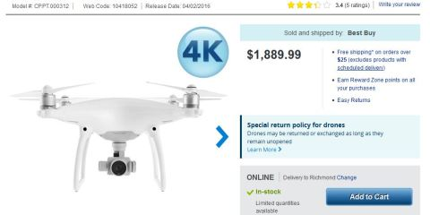 DJI Phantom 4 Canada sale and shipping costs