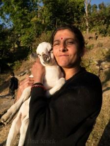 Januka (Jabraj's wife) and her beloved goat kid!