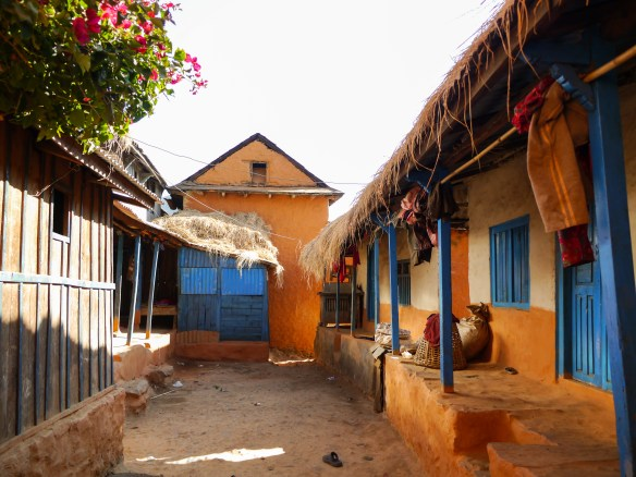Village houses painted in the traditional colours