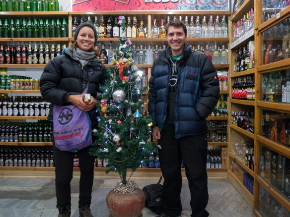 Me and Sophie in our necessary puffer jackets, next to one of Kathmandu's few christmas trees!
