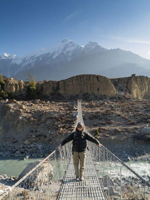 Sophie on a mighty suspension bridge