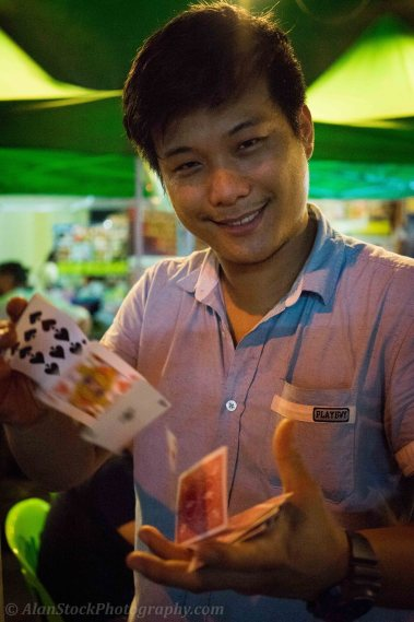 Check out Magic Thaifood - a little street restaurant on Rambuttri, you can get cheap food and drink listening to live music from other bars and in the evening Max does tricks for customers - he is pretty good!