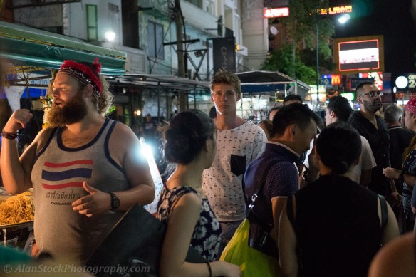 A bewildered looking backpacker in the heart of the Khao San throng!