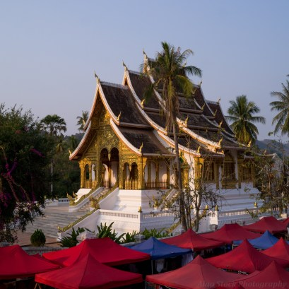 The Luang Prabang Night Market sets up before opening.