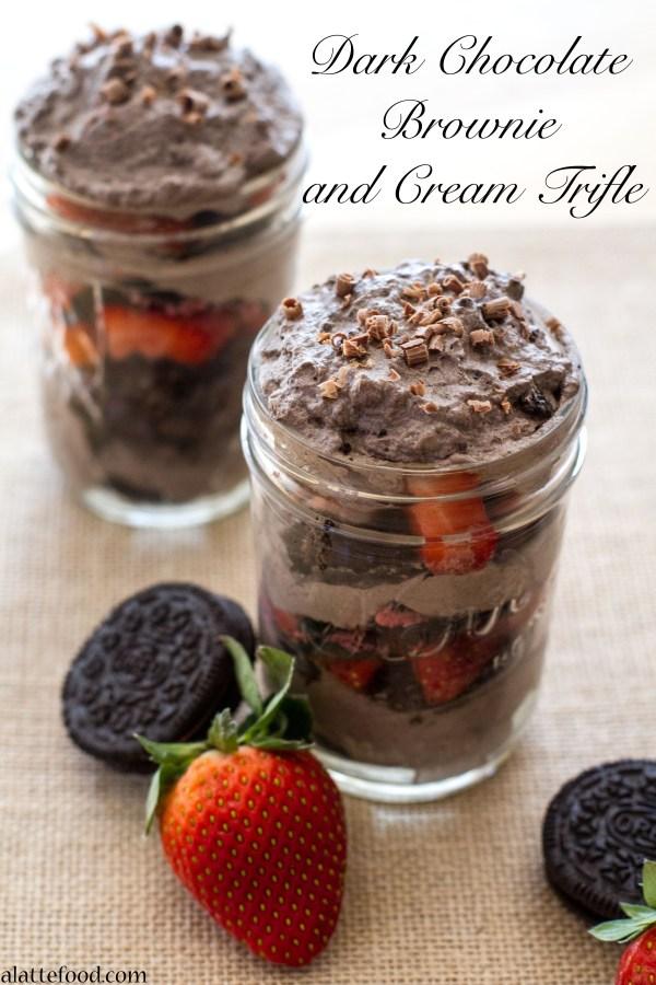 Dark Chocolate Brownie and Cream Trifle