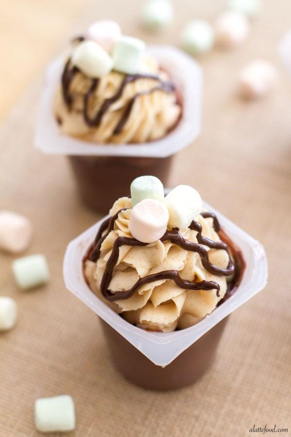 Fluffernutter Chocolate Pudding Cups | A Latte Food