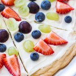 Fruit Pizza This easy lemon sugar cookie fruit pizza is made with a cookie mix, topped with a creamy marshmallow frosting, and layered with fresh fruit!