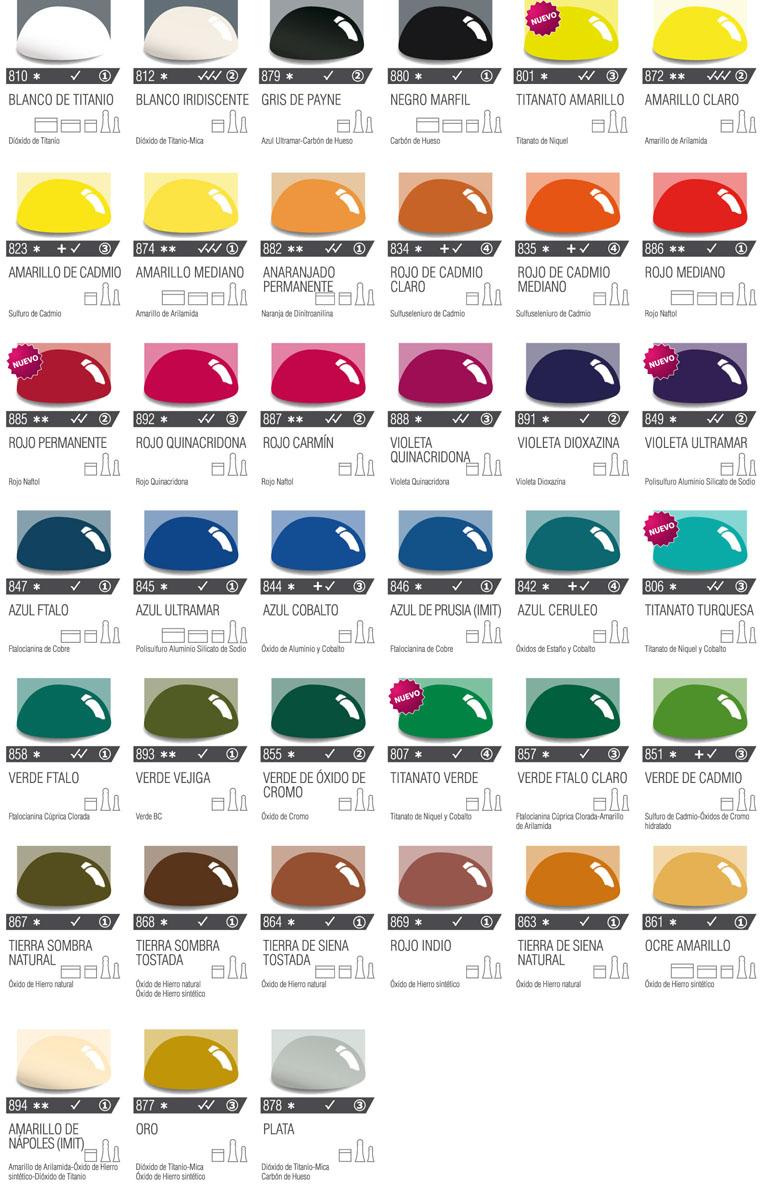 Carta de colores de acr licos profesionales - Ver colores de pintura ...