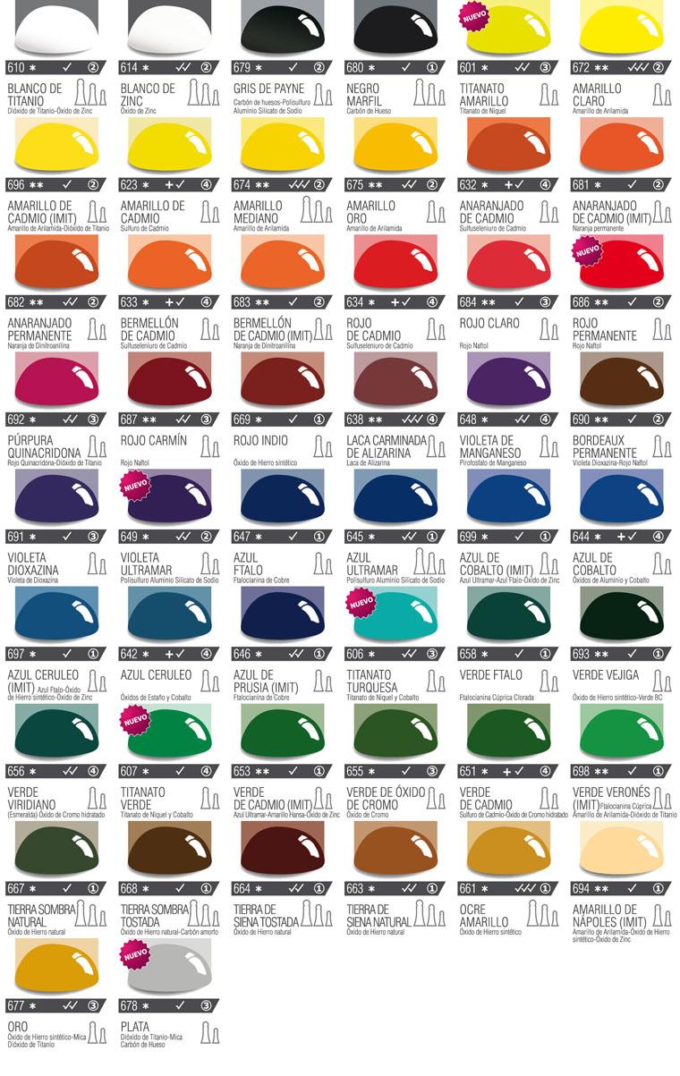 Carta de colores de leos profesionales - Nombres de colores de pinturas ...