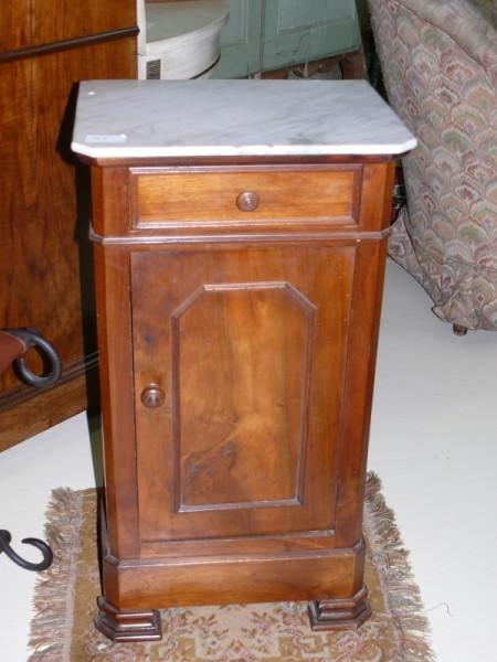 Chevet bois et marbre meuble ancien albert antiquit for Meuble antiquite