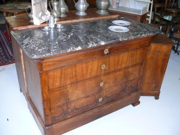 commode louis philippe en noyer dessus marbre albert antiquit. Black Bedroom Furniture Sets. Home Design Ideas