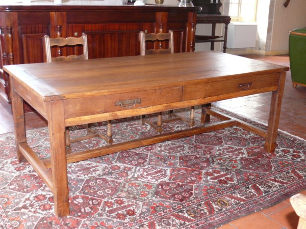 grande table de ferme en ch ne et ses deux tiroirs albert antiquit. Black Bedroom Furniture Sets. Home Design Ideas