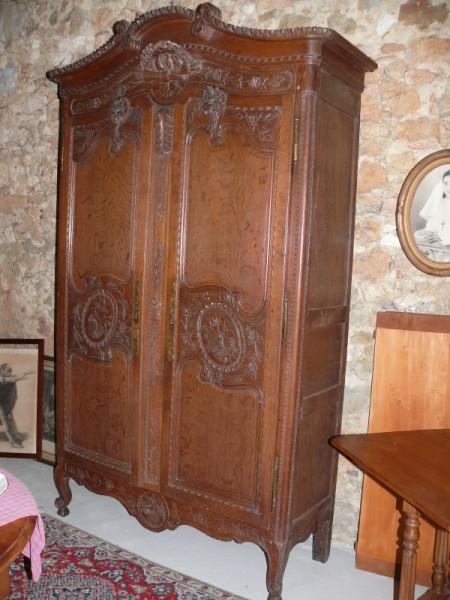 armoire normande style louis xv 19 me si cle en ch ne. Black Bedroom Furniture Sets. Home Design Ideas