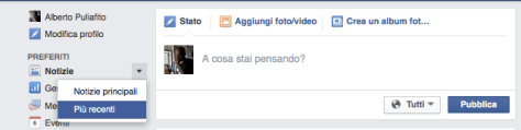 Facebook in ordine cronologico
