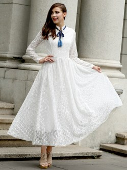 Small Of Long Sleeve White Dress
