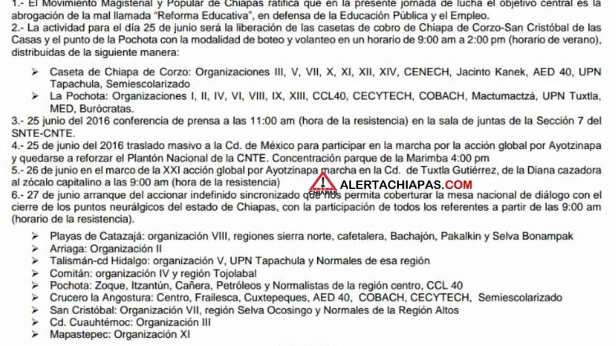 Acciones del magisterio para el día 25, 26 y 27/jun #Tuxtla #Chiapas