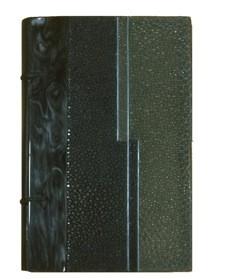 M.me de Renneville – La récréation d'Eugénie Dorso in box nero, cuciture a vista. Piatti in corno lucido, galuchat verde scuro e verde chiaro con fili di metallo argentato