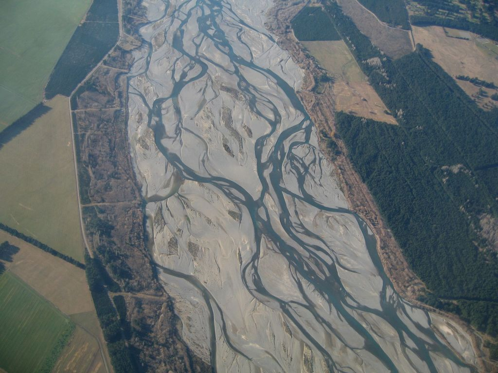 A braided channel on the  Waimakariri River. Source: Wikipedia