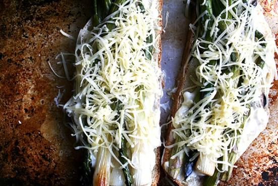 asparagus & spring onion croque monsieur, ready for the broiler