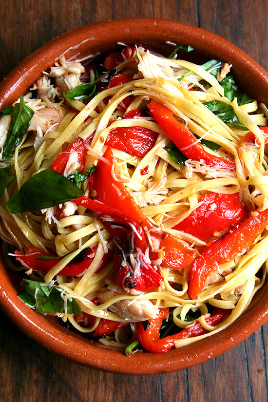 linguini with crab and roasted red peppers