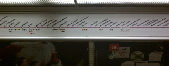 Above-the-door strip map for Line 8 in the Paris Metro. Photo by the author.