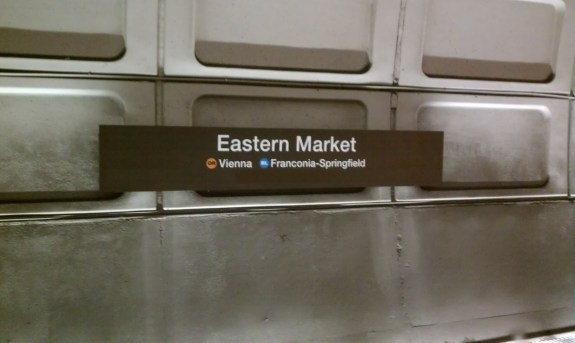 New wall signage on the westbound track at Eastern Market, with room for Silver Line information below OR and BL. Photo by the author.