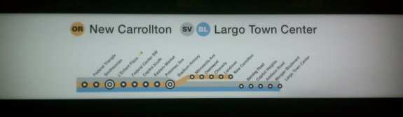 Backlit strip map at Federal Triangle, including Silver Line to Largo. Photo by the author.