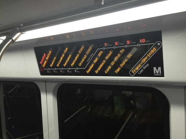 WMATA 7000 series next stop displays. Photo by the author.