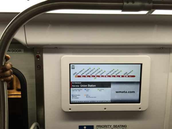 WMATA 7000 series video screen. Photo by the author.