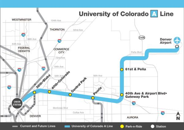 Denver RTD A-Line map.