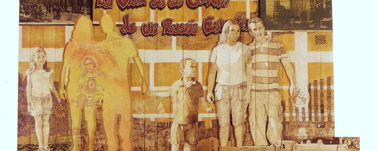 Retrato de familia - pirograbado, pistola industrial de calor, óleo sobre madera - Alex Cuchilla - El Salvador