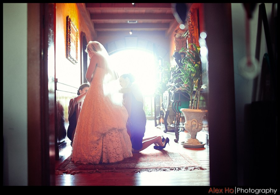 fixing dress V. Sattui Winery Wedding in Saint Helena