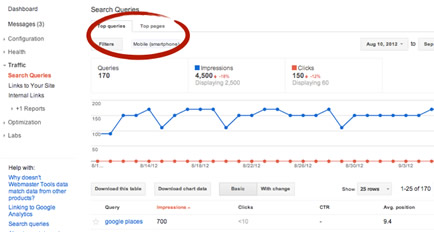 Google Search Results Top Queries and Pages