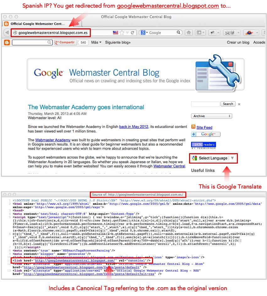 Gppgñe Webmaster Central Blog Redirects