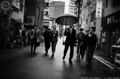 Workers on their way to lunch in Ningyocho